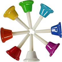 Yalloy 8 Note Diatonic Metal Hand Bells Set Colorful Handbell Musical Toy Percussion Instrument for Kids,Adults,Used for Festival,Musical Teaching,Church Chorus,Wedding,Family Party