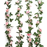 Yebazy 2PCS(15FT) Fake Rose Vine Garland Artificial Flowers Plants for...