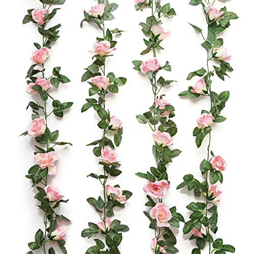 Yebazy 2PCS(15FT) Fake Rose Vine Garland Artificial Flowers Plants for Hotel Wedding Home Party Garden Craft Art Decor (Pink)