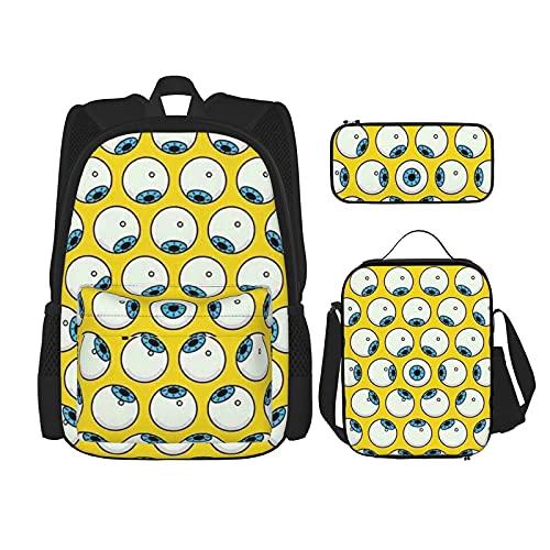 Mochila con estampado de bolas de ojos para niños, adolescentes, bolsa de viaje, bolsa de almuerzo y estuche de lápices