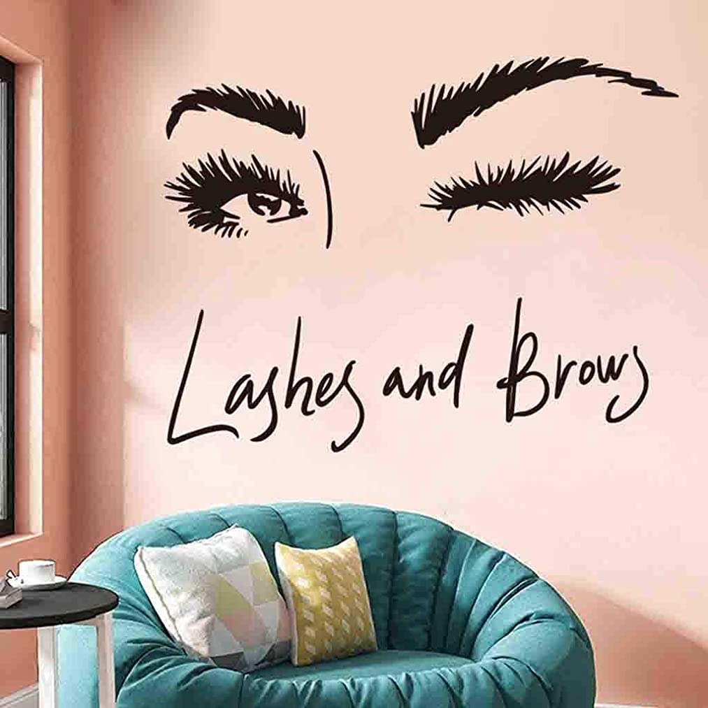 Yliquor Wall Decals Murals Art Sticker Eye Lashes Wall Decor Eyebrows Make Up for Bedroom Bathroom Living Room