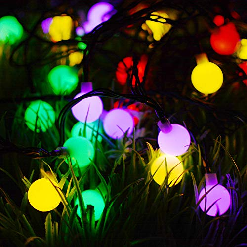 Solar Fairy Light Outdoor 23ft LED Christmas Decorative Light Battery Operated Indoor Party String Lights Festoon Tree Lights- 7 Meter Opaque Globe