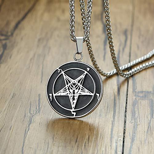 VAWAA Exoticdream Inverted Baphomet Satanic Pentagram Sabbatic Goat Church of Satan Sigil of Lucifer Pendant Necklace