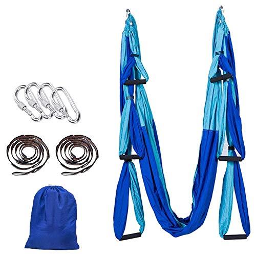 K-DD Aerial Yoga Swing Set,Aerial Trapeze Yoga Swing Hammock,Ultra Strong Antigravity Yoga Hammock/Sling/Inversion Tool,Aerial Pilates Silk Yoga Swing Set,Flying Yoga Inversion Tool,Blue