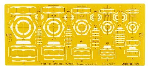 Aristo Schrauben- und Mutternschablone (für Drauf- und Ansichten von Sechskantschrauben und -muttern M4 bis M24) orange-transparent