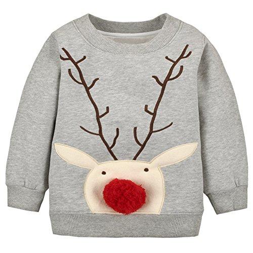 LOSORN ZPY Baby Toddler Boy Christmas Sweater Cotton Pullover Sweatshirt Grey Deer 12M