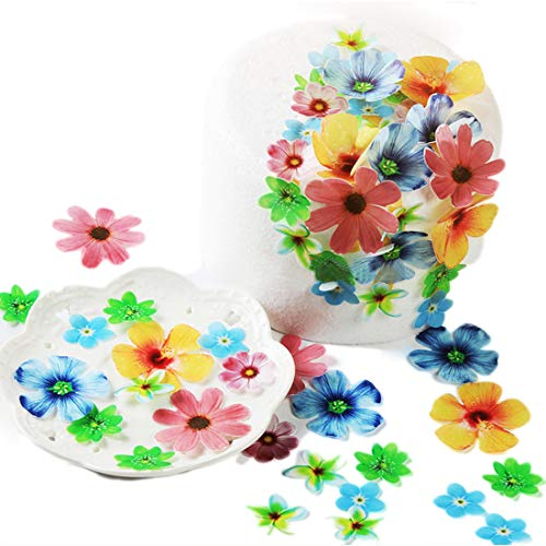 GEORLD Set of 72 Edible Flowers Cupcake Toppers Wedding Cake Party Food Decoration Mixed Size & Colour