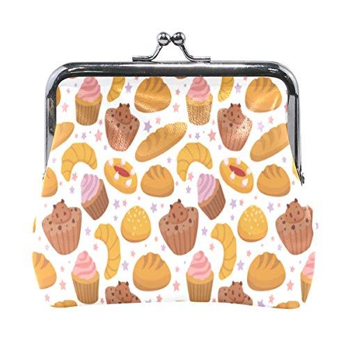 Brieftasche Französisch Gebäck Muster Cupcke Brot Münze Geldbörse Beutel Leder Wechselhalter Karte Clutch Handtasche