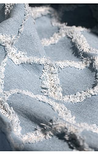 HUJB 100 Percentage Cotton Ripped Holes Washed Denim Fabric for DIY Crafts Jeans Dress T-Shirt Shirting Material Sewing Costume Making Sewing Shirting Quilting Decoration(Size:0.5m)