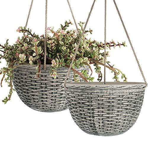 LA JOLIE MUSE Fioriere a sospensione di 25 cm per piante da interno, vasi pendenti per giardino, colore grigio pietra, motivo intrecciato, set da 2