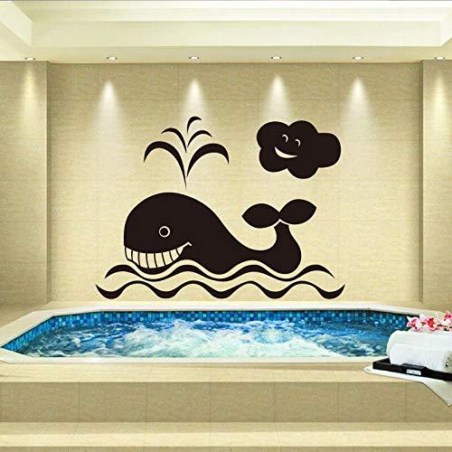 yaonuli Vinyl Wandaufkleber Kinderzimmer Badezimmer Cartoon Whale Wandbild Aufkleber Wallpaper Home Decoration 42X63cm