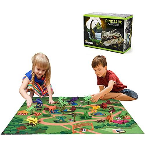 Conjunto de bonecos de dinossauro com tapete de atividade, modelos educativos realistas de dinossauros, árvores e pedras criam um mundo de dinossauro para crianças, meninos e meninas