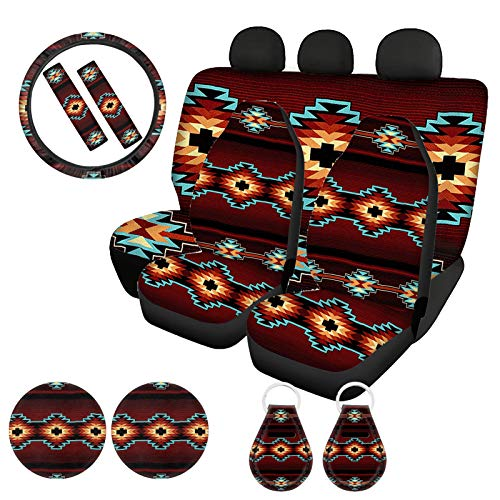 ZFRXIGN Aztec Tribal Car Seat Cover Full Sets for Women Native American Stripe Print with Stretchy Steering Wheel Cover + Seat Belt Strap Cover+ Cup Holder Coasters+ Auto Keychains, Easy to Clean
