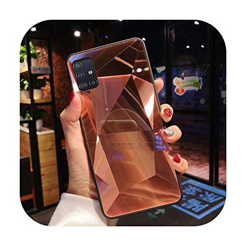 Phonecase For Samsung Galaxy A51 Case 3D Diamond Prism Holographic Laser Phone Case For Samsung Galaxy A71 Sm A515F A717F A 51 71 Cover-Rose Gold-For Samsung A71