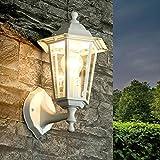 Wand Außenleuchte Weiß wetterfest T:22cm Glas Aluguss Wandlampe Außen Hof Garten Balkon Tür PARIS