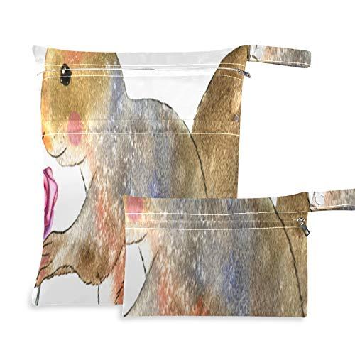 WYYWCY Hermosa Ardilla Adorable Animal Bolsa para pañales Dos Bolsillos 11.8 x 14.2 Pulgadas y 5.9 x 8.7 Pulgadas Bolsas de lavandería de Viaje Organizador Impermeable, organizadores de maquil