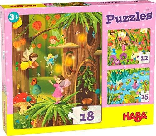 HABA 305197 - Puzzles Glitzerndes Feenland, 3 Puzzles mit 12, 15 und 18 Teilen, Feenmotive mit Glitzer; Puzzle ab 3 Jahren