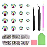 2000 Stücke AB Flache Rückseite Glass Kristall Strasssteine-3D Nagel Art Runder Edelsteine Glitter Gems Steine mit Pick up Pinzette für