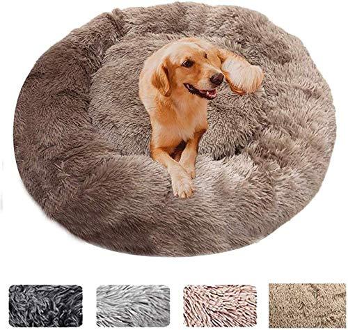 Cama para Perros Deluxe Soft Pet Bed Sofá Cálido para Perros Cojín Redondo de Felpa Cama para Gatos en Forma de Rosquilla para Perros Medianos y Grandes (Color : Coffee, Size : 120cm)