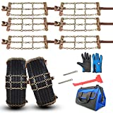 2021 Upgraded Tire Chains, RUITO Snow Chains for SUV Cars Pickup Trucks RV, Applicable Tire Width 215-325mm (8.46-12.79 inch), Heavy Duty, Thickened, Adjustable, Durable, Higher Stability (6 Packs)