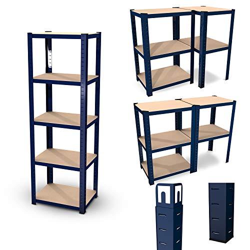 Estantería modular de almacenamiento de metal - Carga hasta 875kg - 180 X 60 X 45 cm - Azul