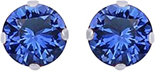 Round Cut Simulated Blue Sapphire 2mm Solitaire Stud Earrings In 14K Gold Over Sterling Silver