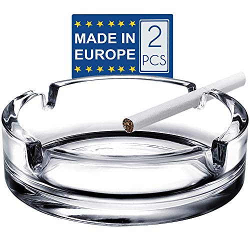 Glass Cigar Ashtrays for Cigarettes, 2 Pcs Decorative Clear Glass Ashtrays, Big Round Ash Trays for Home, Office and Restaurants, Cool Luxury Ashtray Gift Set for Men