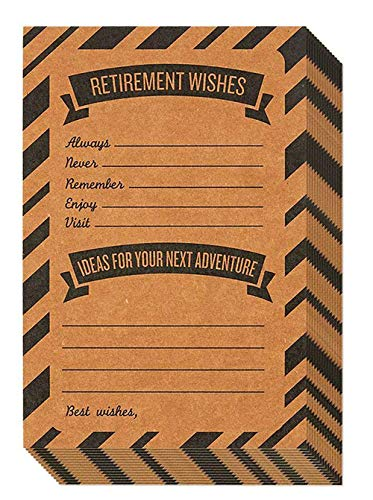 Retirement Card � 50-Pack Happy Retirement Cards Bulk, Retirement Well Wish and Advice Cards, Includes Envelopes, Perfect for Retirement Parties, 4 x 6 Inches, Kraft