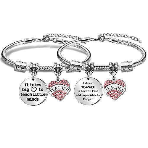 Paquete de 2 pulseras de apreciación para profesores de graduación para mujer con dijes de cristal para profesores