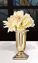 11 Inch Altar Vases- 4.5 Inch Square Base - Highest Quality - Made of Brass - Package of 2