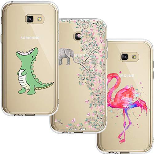 [3 Pack] Estuche Samsung Galaxy A5 2017, Blossom01 Estuche Protector de Silicona Ultra Thin Soft TPU con Dibujos Animados Lindo para Samsung Galaxy A5 2017 - Cocodrilo & Flores de Elefante & Flamingo