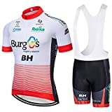HOLISHITO maillots ciclismo manga corta transpirables verano para hombres y pantalones cortos con babero con almohadilla de gel 5D para ropa equipo bicicleta profesional