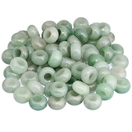 SUNYIK Green Aventurine Large Hole (6mm) Rondelle Loose Charms European Bead fits Bracelet,Jewelry Makings Pack of 20