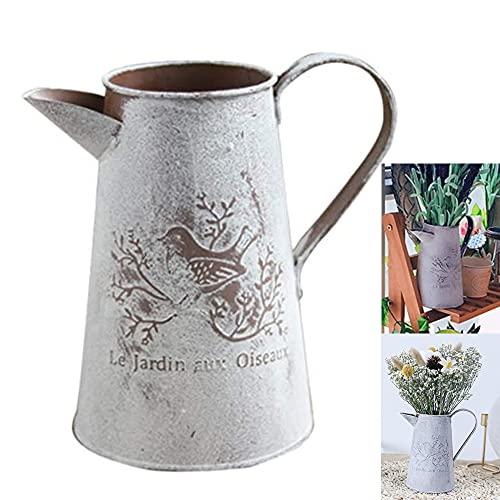 Jarrón de flores vintage, retro, jarrón decorativo, estilo rústico, metal, cubo de metal, cubo rústico, cubo de flores, cubo de flores, decoración vintage, jarrón de metal, decoración de mesa