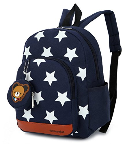 Teddy Bär Stern Kinderrucksack Kindergarten Rucksack Schultasche Backpack Junge & Mädchen (Dunkelblau)