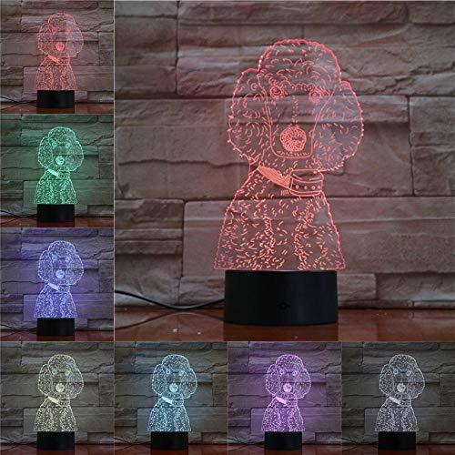 ARXYD Lampe de table veilleuse 16 couleurs Caniche en forme de maison animal de compagnie chien illusion de lumière nuit ampoule décoration de la maison multicolore tactile induction batterie jouet La