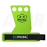 PICSIL AZOR Grips 3H - Calleras para Crossfit Grips Gymnastics, Pullups, Weight Lifting, Chin Ups Protect Your Palms. Size S. Green Color.