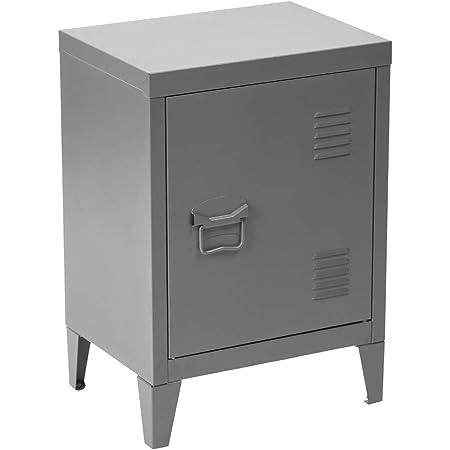 MEUBLE COSY Table de Chevet Petit Meuble en Acier Gris, Casier en Métal avec Deux Étagères Rangement Bureau, Gris /30x40x57 cm