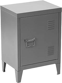 Meuble Cosy Table de Chevet Petit Meuble en Acier Gris, Casier en Métal avec Deux Étagères Rangement Bureau, Gris /30x40x5...
