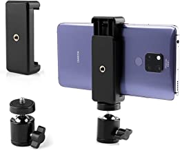 Cell Phone Holder Clip and Ball Head Adapter Set for Tripod and Selfie Stick with 1/4 Screw, Universal Tripod Mount, Camera Tripod Ball Head, 360 Degree Swivel Cell Phone Tripod Mount Set