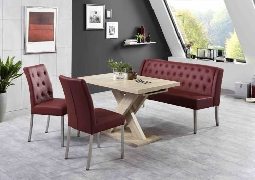 Moebelstore24 zitgroep Manchester tafel + zitbank + 2 stoelen rood eiken Sonoma gezaagd decor