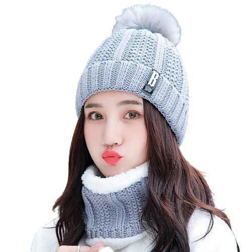 Krystle Winter Soft Warm Snow Proof Pom Pom Cap (Inside Fur) Woolen Beanie Cap with Scarf for Women's & Girl's (Dark Grey,Freesize)-(Pack of 02)