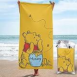 Toalla de playa de microfibra Winnie The Pooh, de secado rápido, superabsorbente, grande, grande, para viajes, piscina, baño, camping, yoga, deportes, 27.5 x 55 pulgadas