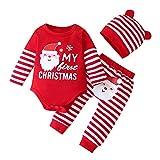 YONSIN Neugeborene Baby Strampler Weihnachten Cartoon Print Baby Body Winter Warme Patchwork Strampler Bodysuit + Gestreifte Hose Set Lange Ärmel Overall für Jungen Mädchen