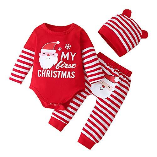 BATKKM Toddler Baby Boys Girls Christmas Cartoon Print Romper Bodysuit+Pants Set Two Piece Sleepwear Outfit Fall Winter Clothes