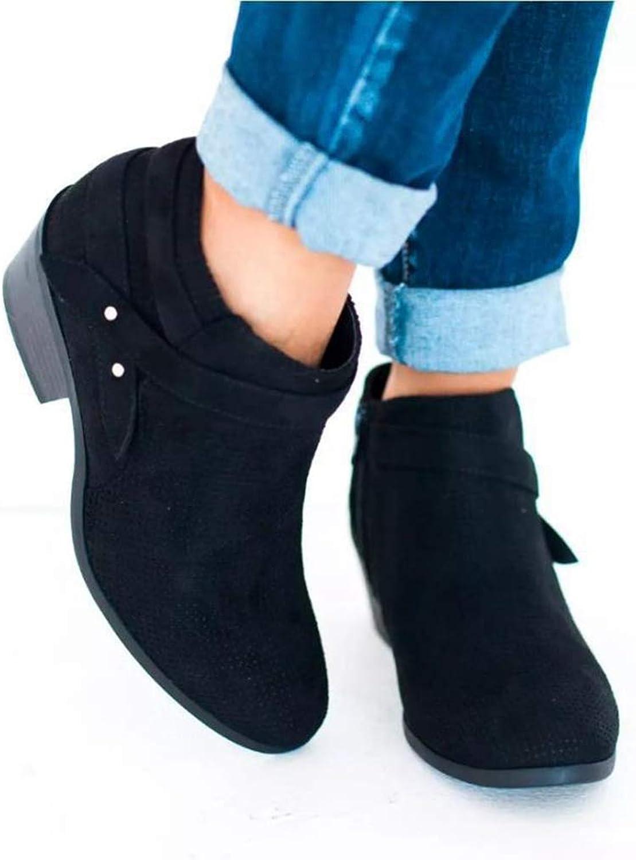 T-JULY Women Plaform Chunky Heel Plus Size shoes Female Zipper Low Heels Casual shoes Ladies Fashion Short Boots
