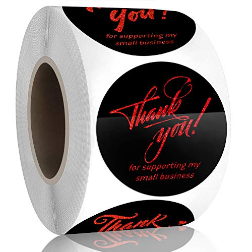 Padike 1.5' Thank You for Supporting My Small Business Stickers, 4 Designs, Highly Recommended for Small Business Owners and Online Sellers, 500 Labels Per Roll (Black & Glitter red Gold, 1.5inch)