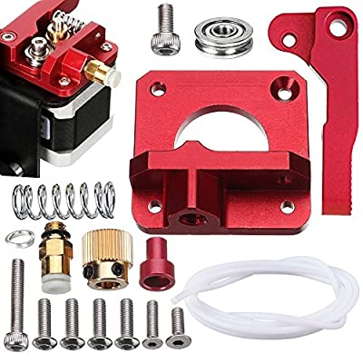 SIQUK Upgraded MK8 Extruder Aluminum Drive Feed Replacement 3D Printer Extruders Kit for Creality CR-10, CR-10S, CR-10 S4, RepRap Prusa i3, 1.75mm (Bonus: 1 Meter PTFE Teflon Tube)