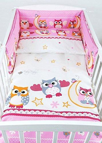 BABYLUX Kinderbettwäsche 2 Tlg. 90 x 120cm Bettwäsche Bettset Babybettwäsche (56. Eule Rosa)