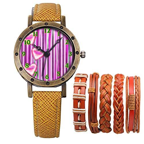 Meisjes Merk Retro Brons Vintage Lederen Band Dames Meisje Quartz Horloge Armband 6 Sets Abstract Bloemen 345.Hartkleur Achtergrond Roze Kleurrijke Hartjes Papier